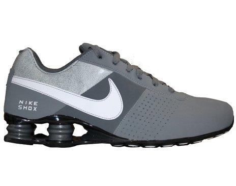grey and white nike shox