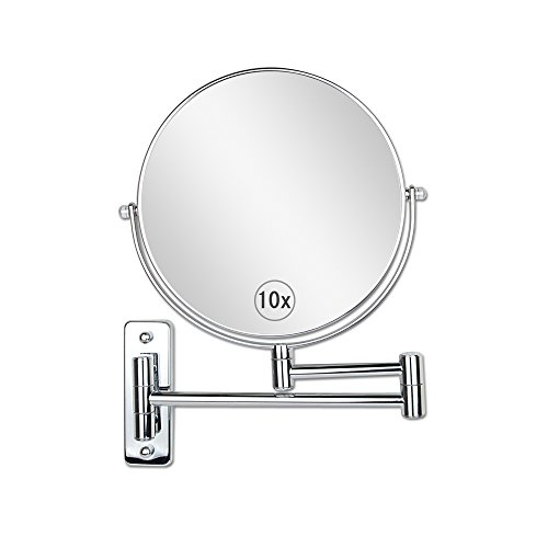 ALHAKIN 8-Inch Two-Sided Swivel Wall Mount Makeup Mirror With 10x Magnification,Chrome Finish