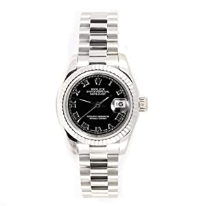 Rolex Ladys President New Style Heavy Band 18k White Gold Model 179179 Fluted Bezel Black Roman Dial