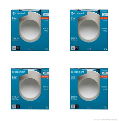 Ecosmart 65W Equivalent Soft White (2700K) Dimmable Led Indirect Recessed Downlight Bulb- (4 Pack)