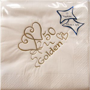 Luxury 50th Golden Wedding Anniversary Napkins