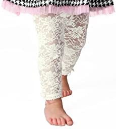 Baby Emporio - Baby Girl Lace Leggings-Off-White-6-12 M