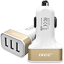 iXCC® 3 Port USB 7.2 Amp (36 Watt) SMART Universal High Capacity [High Power] [Small Size] FAST Car charger with Exclusive ChargeWise (tm) Technology, for Apple iPhone 6/ 6 plus/ 5s/ 5c/ 5; iPad Air 2/ iPad Air; iPad mini 3/ iPad mini 2/ iPad mini; Samsung Galaxy S6 / S6 Edge / S5 / S4; Note Edge / Note 4 /Note 3 /Note 2; the new HTC One M8/ M9; Google Nexus and More [Gold]
