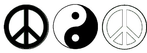 """Set of 3 Black & White Peace / Yin Yang Signs 1.25"""" Pinback Buttons Badges / Pins"""