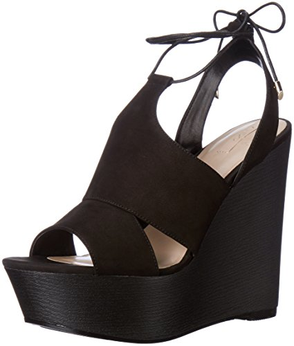 Aldo Women's Gwyni Wedge Sandal, Black NUBUCK, 6.5 B US