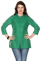 Vedanta Women's Regular Fit Cotton Kurta (TPCMCOP111GRN_GREEN_L, Green, Large)