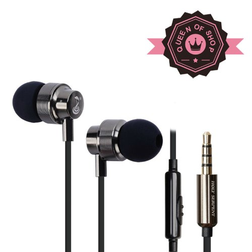 Queen Sanke H5 Black+Gold 3.5 Mm Premium Metal Bass Stereo Wired Music Headset Earbuds With Microphone Or Apple Ipad 1/2, Tablets, Apple Iphone 3G/3Gs, 4 And For All Cell Phone Models