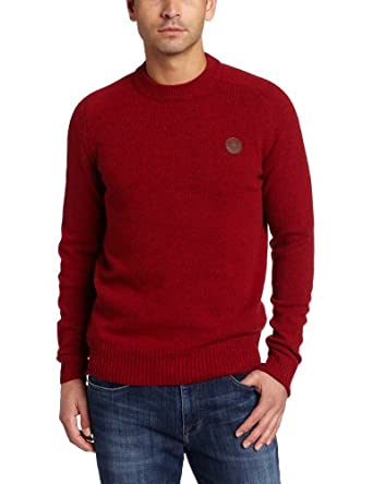 Fred Perry Men's Tweed Crew Neck Sweater, Rich Red Tweed, X-Large