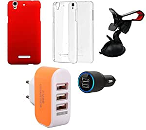 NIROSHA Cover Case Car Charger Mobile Holder Charger car Combo for YU Yureka Combo