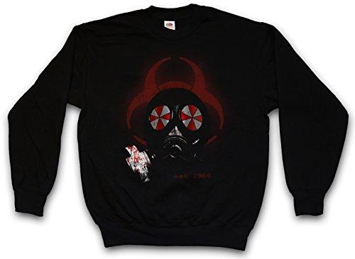 GAS MASK BIOHAZARD UMBRELLA PULLOVER SWEATER SWEATSHIRT MAGLIONE Resident Corporation masque à gaz Corp Evil Logo Nemesis Zombi Wesker Game Movie Taglie S - 5XL