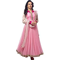 Bhagwati Women's Faux Georgette Embroidered Unstitched Dress Material (pinklady_Pink_Freesize)
