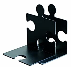 Han Puzzle 123 x 142 x 171mm CD/ Bookends - Black (Set of 2)