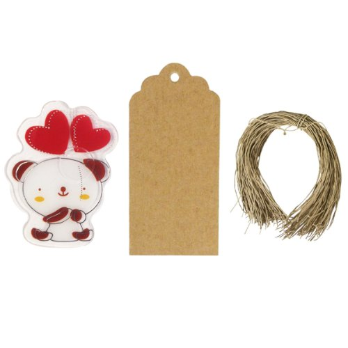 Allydrew Set of 50 Bear Bag Clips with 20 Scalloped Gift Tags/Kraft Hang Tags and Free Cut Strings for Baked Goods, Cake Pops, Party Favors, for Sealing Goody and Treat Bags, and Cello Bags - 1