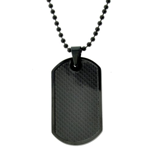 Stainless Steel and Carbon Fiber Dog Tag Pendant with Black Ionic Plating, 22""