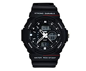 Men's Fashion Sports Multi-Function Electronic Waterproof Watch(silver)