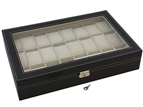 TMS® Black Leather 24 Mens Watch Box Large Glass Top Display Jewelry Case Organizer