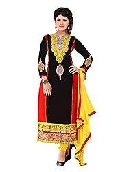 Black & Red colour embroidered chanderi fabric semi stich churidar dress material