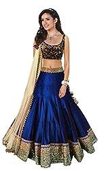 Awesome Fab Blue Colour Bangalori Silk Semi-stitched Embroidered Lehenga Choli