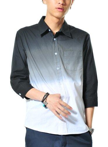 シャツ メンズ 長袖 7分袖 段染め グラデーション チェック カジュアル 605906 ブラック M