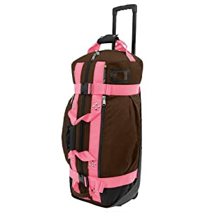 Club Glove Rolling Duffle II Bag : Mocha - Pink Webbing by Club Glove