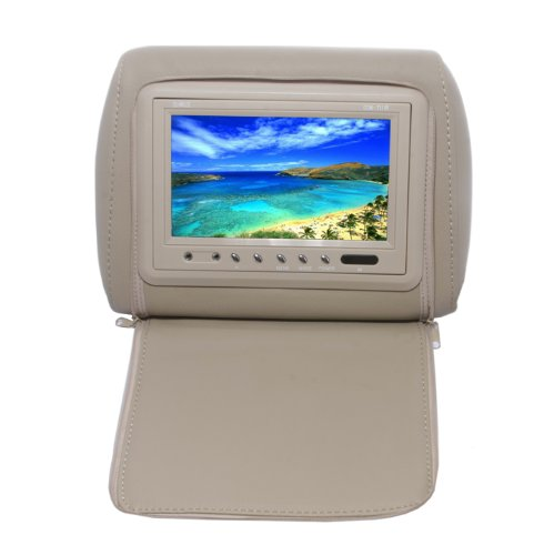 Absolute Com-711Irc 7.5- Inches Headrest Pillow With Zipper Cover Tft/Lcd Color Monitor, Built-In Ir Transmitter And Remote Control (Cream/Tan)