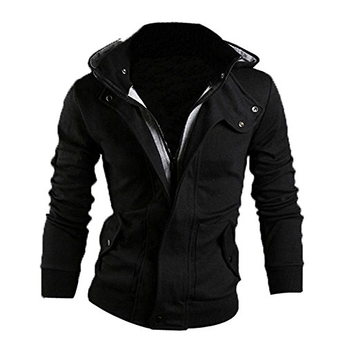 kize-mens-winter-slim-hoodie-warm-hooded-jacket-l-black