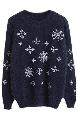 Pink Wind Pullover Reindeer Snowflake Christmas Sweater Sweatshirt(6)