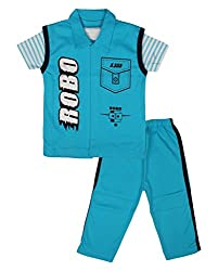 Little Buds Blue Cotton Printed Top and pant Set Baby Wears