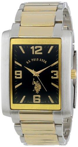 U.S. Polo Assn. Classic Men'S Usc80043 Two-Tone Rectangular Black Dial Link Watch