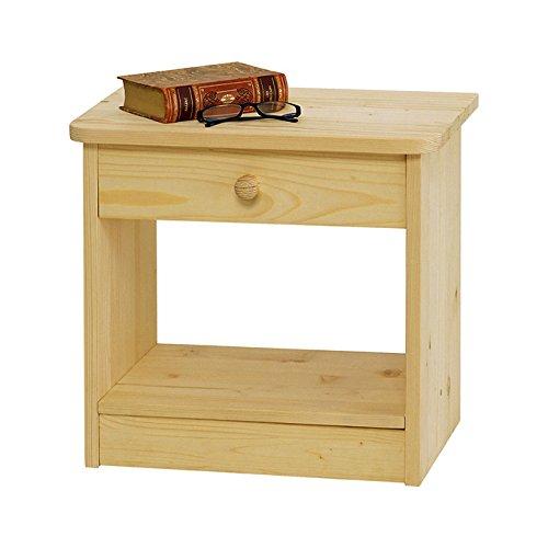 Comodino country in legno massello grezzo in abete 49x32x45 cm da camera