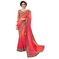 Aryaa Fashion Women's Georgette Saree (ARSA11033_Pink_Free Size)
