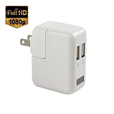 SpygearGadgets® 1080P HD Motion Activated USB Wall Charger Hidden Spy Camera / Nanny Cam with 1 Year Warranty