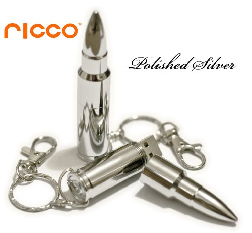 8GB Aluminum Metal Bullet High Speed USB 2.0 High Speed Flash Pen Drive Disk Memory Stick Support Windows and Mac OS Water Proof and Shock Proof with Key Ring and Belt Loop Great Gift (Ricco 01-017) (8GB Polished SILVER)