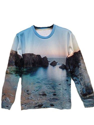 Xtx? Men Punk Rock Hip Hop Sea Round Neck Long Sleeve Sweater Shirts Outerwear