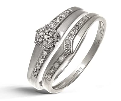 Ariel 9ct White Gold 0.12ct Diamond Wishbone Bridal Set Crossover Ring