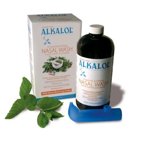 Alkalol - A Natural Soothing Nasal Wash, Mucus Solvent and Cleaner Kit -  with Cup, 16-oz. (857670002007)