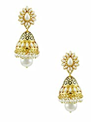 The Art Jewellery Rajwadi Ethnic Emerald Drop Earrings For Women