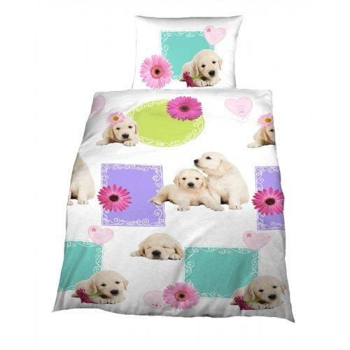 parure de lit housse de couette labrador chien chiot 1 taie d oreiller 1 personne chambre. Black Bedroom Furniture Sets. Home Design Ideas