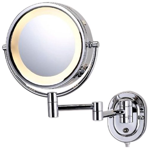 See All Hlcsa895D Halo Lighted 8-Inch Diameter Wall Mounted Make Up Mirror 5X Direct Wire, Chrome front-176626
