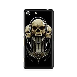 Motivatebox - Sony Xperia M5 Back Cover - Skulls and Music Polycarbonate 3D Hard case protective back cover. Premium Quality designer Printed 3D Matte finish hard case back cover.
