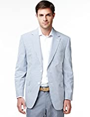 Sartorial Luxury Pure Cotton Seersucker Striped Jacket