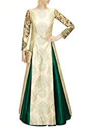 Fabron beige printed long choli with embroidered long sleeves.