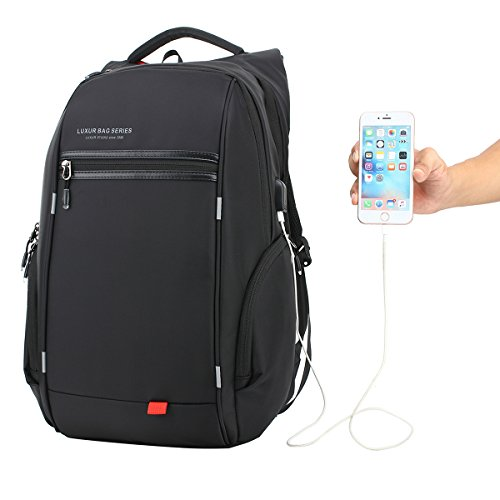 luxur-nylon-waterproof-laptop-backpack-casual-school-business-travel-daypack-fit-16-inch-laptop-blac