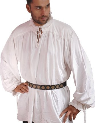 ThePirateDressing Pirate Gothic Renaissance Medieval Costume Shirt (Small/Medium, White)