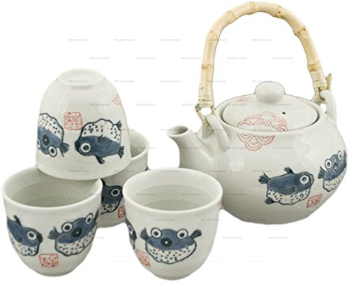 Find Discount Happy Sales Off White Porcelain Tea Set Blowfish Design