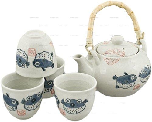 Find Discount Happy Sales Off White Porcelain Tea Set Blowfish Design