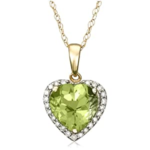 10k Yellow Gold, August Birthstone, Peridot and Diamond Heart Pendant