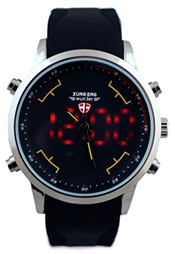 s watches mens led digital display black sport
