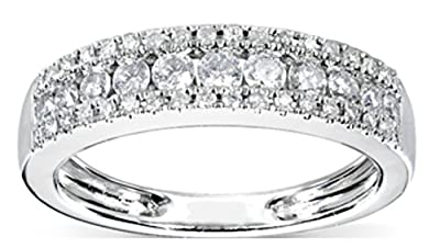 Women's Diamond Look STERLING SILVER Ring. Rhodium Plated Eternity Band Wedding Anniversary Ring Simulated Diamonds. 925 Hallmarked