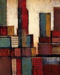 18W x 24H City Block Skyline II by Joel Holsinger - Stretched Canvas w/ BRUSHSTROKES